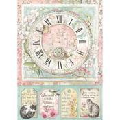 Clock Rice Paper A4 - Orchids & Cats - Stamperia - PRE ORDER