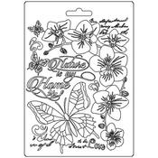 Nature Is My Home Soft Maxi Mould A5 - Orchids & Cats - Stamperia - PRE ORDER