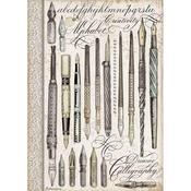 Vintage Pens Rice Paper A4 - Stamperia - PRE ORDER