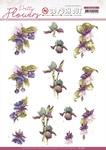 Purple Flowers Pretty Flowers Punchout Sheet - Precious Marieke - Find It Trading
