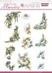Blue Flowers Pretty Flowers Punchout Sheet - Precious Marieke - Find It Trading