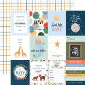3X4 Journaling Cards Paper - Welcome Baby Boy - Echo Park