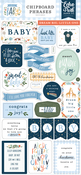 Welcome Baby Boy 6x13 Chipboard Phrases - Echo Park