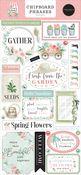 Flower Garden 6x13 Chipboard Phrases - Carta Bella