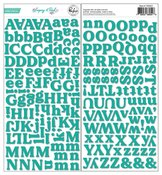 Teal Puffy Alphabet Stickers - Keeping It Real - Pinkfresh Studio