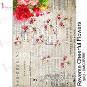 Reverse Cheerful Flowers Transfer Me Sheet A4 - Dress My Craft