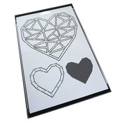 Faceted Heart Trio Stencil - Catherine Pooler