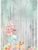 Bouquet & Dog Rice Paper A4 - Circle of Love - Stamperia