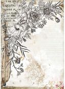 Stylized Flower Rice Paper - Romantic Journal - Stamperia