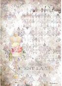 Pink Mannequin Rice Paper - Romantic Threads - Stamperia