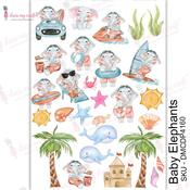 Baby Elephants Transfer Me A4 Sheet - Dress My Craft