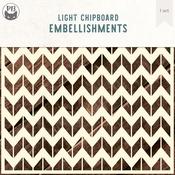 "Chevron Background Large - P13 Light Chipboard Decoration Base 6""X6"""