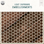 Hexagons Background Medium - Light Chipboard Decoration Base 6x6 - P13