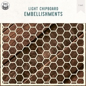 Hexagons Background Large - Light Chipboard Decoration Base 6x6 - P13
