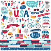Stars, Stripes + Sparklers Combo Sticker - Simple Stories