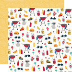 Red, White & BBQ Paper - Stars, Stripes + Sparklers - Simple Stories - PRE ORDER
