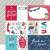 Elements & Stripes Paper - Stars, Stripes + Sparklers - Simple Stories