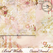 Classical Damask Paper - The Bird Waltz - Blue Fern Studios