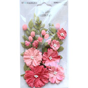 Passion Pink Paper Flowers - Royal Spray - 49 And Market