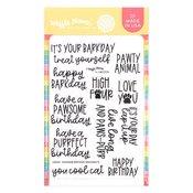 Pawsome Birthday Sentiments Stamp Set - Waffle Flower Crafts