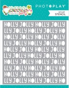 Tulla & Norbert's Christmas Party Holly Jolly Word Stencil - Photoplay - PRE ORDER