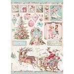 Sleigh Rice Paper - Pink Christmas - Stamperia
