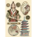 Samurai Colored Wooden Frame - Sir Vagabond In Japan - Stamperia - PRE ORDER