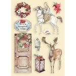 Horse and Deer Colored Wooden Frame - Winter Tales - Stamperia - PRE ORDER