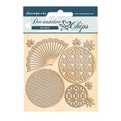 Fan and Circles Decorative Chips - Sir Vagabond In Japan - Stamperia - PRE ORDER