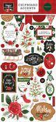 Happy Christmas 6x13 Chipboard Accents - Carta Bella