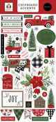 Home For Christmas 6x13 Chipboard Accents - Carta Bella
