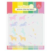 Unicorns Coloring Stencil - Waffle Flower Crafts
