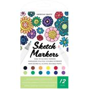 Duel-Tip Alcohol Sketch Markers - Set of 12 - American Crafts