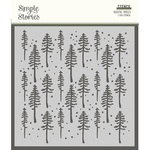 Simple Vintage Rustic Christmas 6x6 Stencil - Rustic Trees - Simple Stories