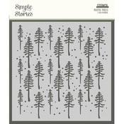 Simple Vintage Rustic Christmas 6x6 Stencil - Rustic Trees - Simple Stories - PRE ORDER