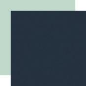 Navy / Mint Coordinating Solid Paper - Winter - Echo Park