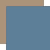 Blue / Tan Coordinating Solid Paper - Winter - Echo Park