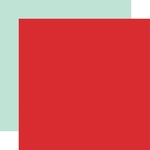Red / Mint Coordinating Solid Paper - Animal Kingdom - Echo Park