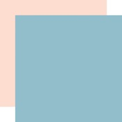 Light Blue  / Light Pink Coordinating Solid Paper - Day In The Life - Echo Park