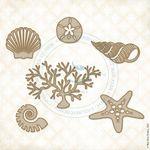 Seaside Seashells Laser Cut Chipboard - Blue Fern Studios