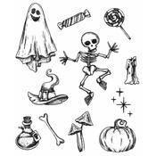 Halloween Doodles Tim Holtz Cling Stamps - Stampers Anonymous