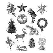 Holiday Things Tim Holtz Cling Stamps - Stampers Anonymous