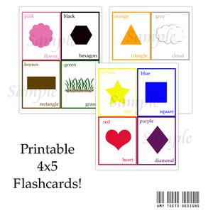 Printable shapes flash cards car tuning