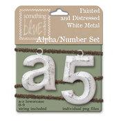 Distressed White Metal Alpha/Number Set